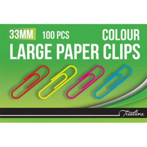 Treeline 33mm PVC Asst. Coloured Gem Clips 100's