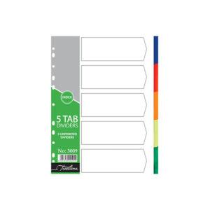 Treeline A4 PVC 5 Tab Plain Rainbow